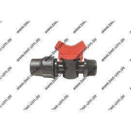 "Mini Kugelhahn Lock, für PE Rohr PN4, Tropfrohr 16 + 20 mm x 3/4"" AG"