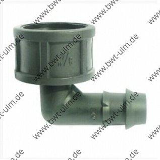 """Steckverbinder Winkel 1/2"""" oder 3/4"""" IG, für 16 oder 20 mm LD PE Rohr, Tropfrohr"""