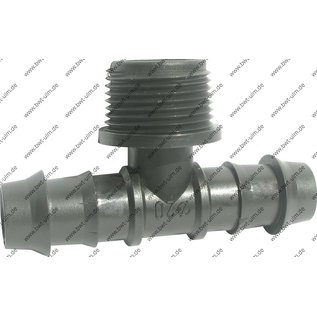 "Steckverbinder T-Stück 1/2"", 3/4"", od. 1"" AG, für 16, 20, 25 mm LD PE Rohr, Tropfrohr"