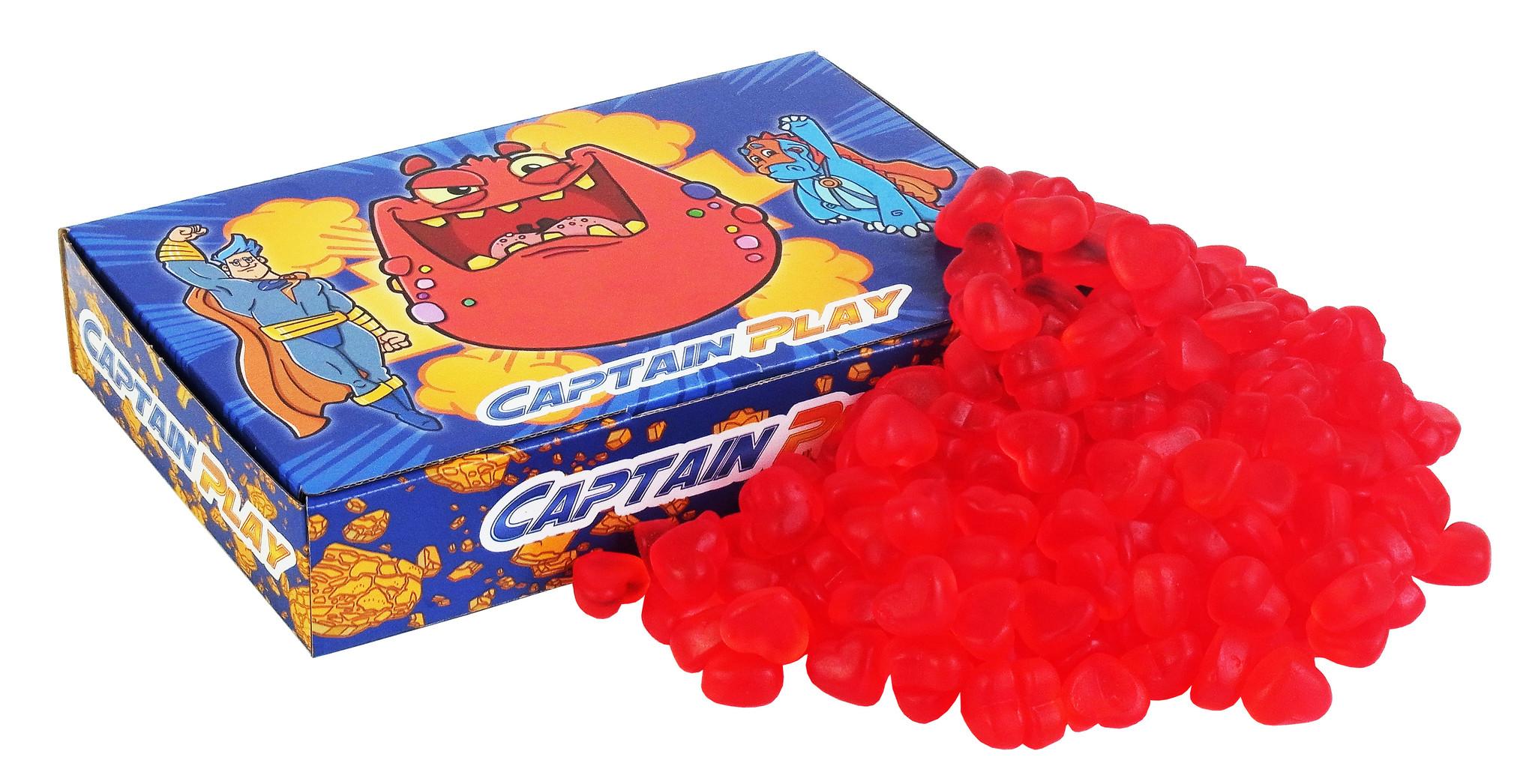 CAPTAIN PLAY 1kg Soft Cherry Hearts,  Herz Deko aus Fruchtgummi, Fruchtgummi Herzen