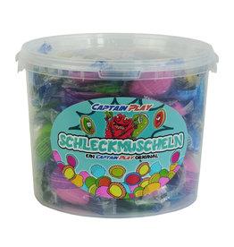 CAPTAIN PLAY 100 Schleckmuscheln einzeln verpackt, Party Bucket mit Schleckmuscheln Süßigkeiten, 1kg