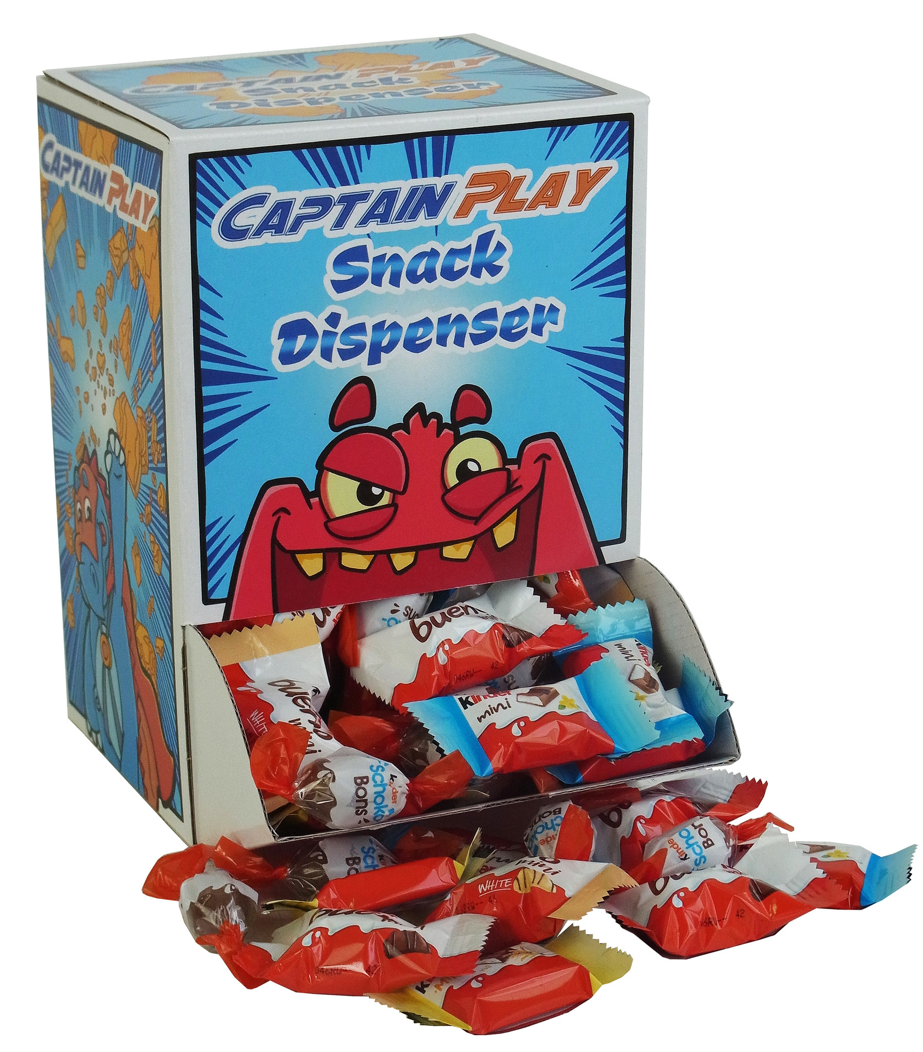 CAPTAIN PLAY | Snack Dispenser mit Schoko Snack Miniaturen in 8 Sorten | 600g Schoko Box