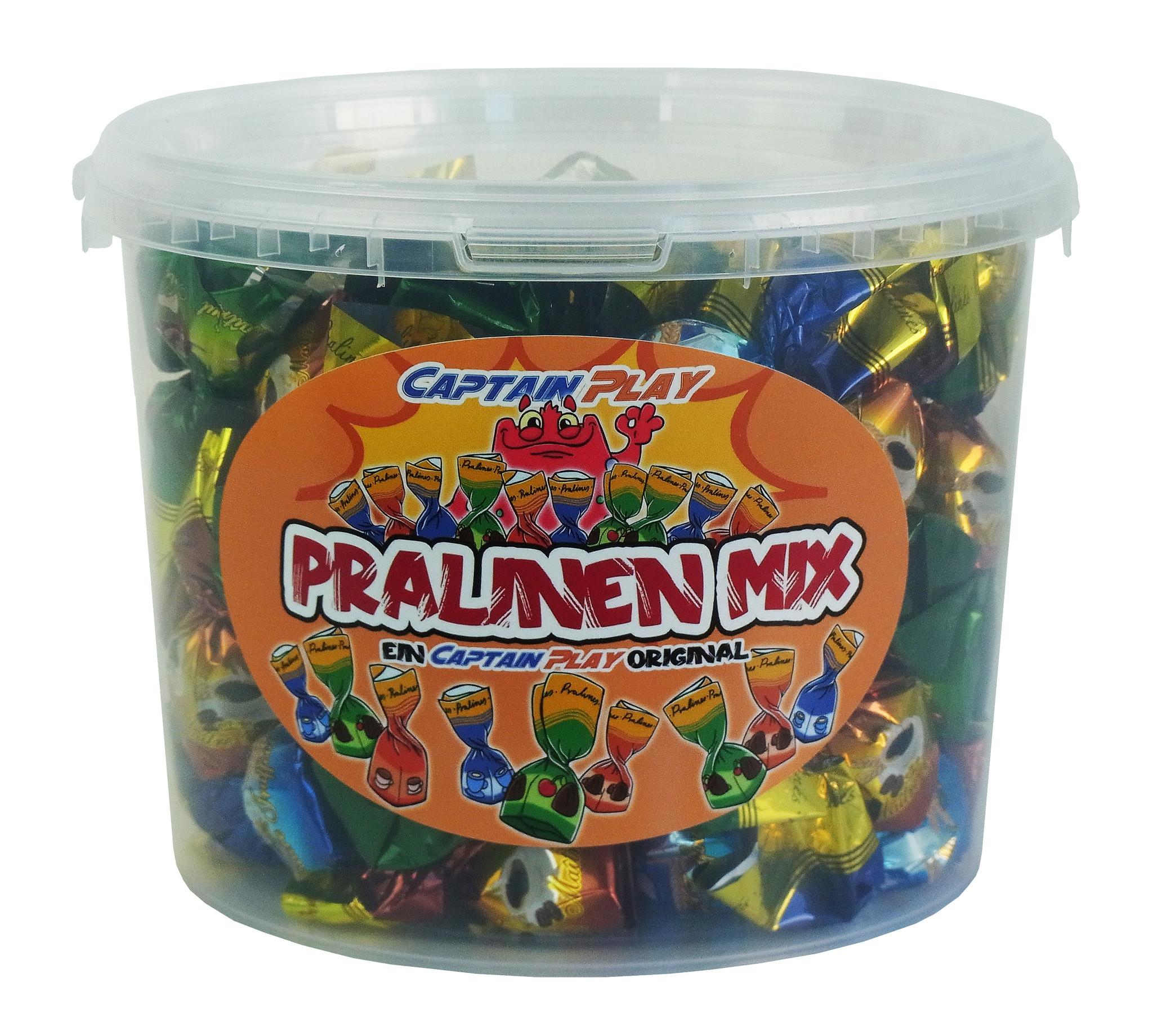 CAPTAIN PLAY Party Bucket 1kg Pralinen Geschenk, Pralinen Geschenk Geburtstag