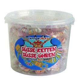 CAPTAIN PLAY Retro Süßigkeiten Box mit Süße Uhren und Süße Ketten Mix, 50 Stück in Einzelverpackung, 1er Pack (1 x 762g)