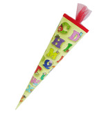 CAPTAIN PLAY Schultüte Lustiges ABC 35cm gefüllt mit Süßigkeiten ohne Schokolade (20-teilig)