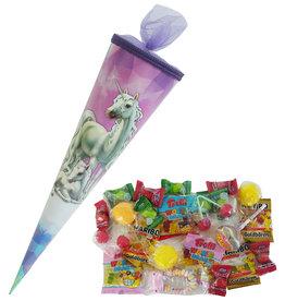 Schultüte Einhorn 35cm gefüllt mit Süßigkeiten