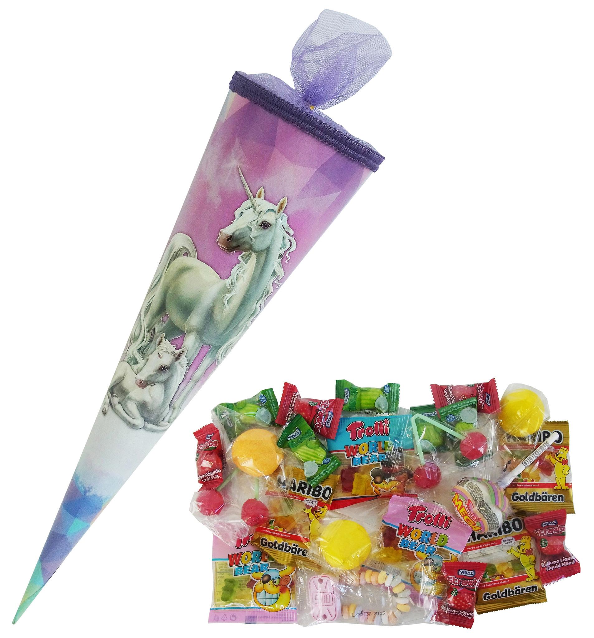 CAPTAIN PLAY Schultüte Einhorn 35cm gefüllt mit Süßigkeiten ohne Schokolade (20-teilig)