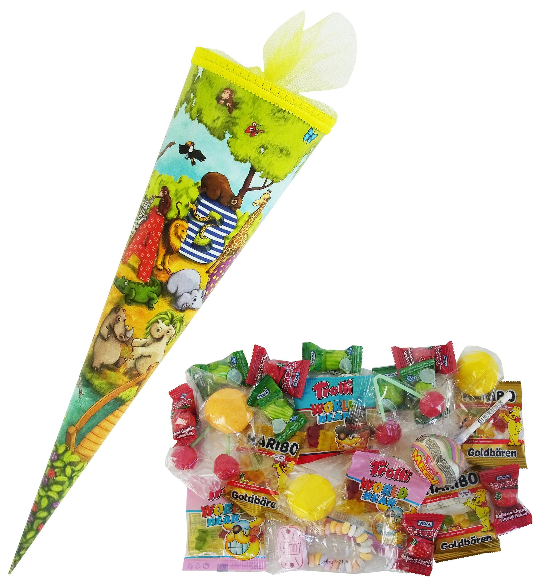 CAPTAIN PLAY Schultüte Fabelhafte Tierwelt 35cm gefüllt mit Süßigkeiten ohne Schokolade (20-teilig)