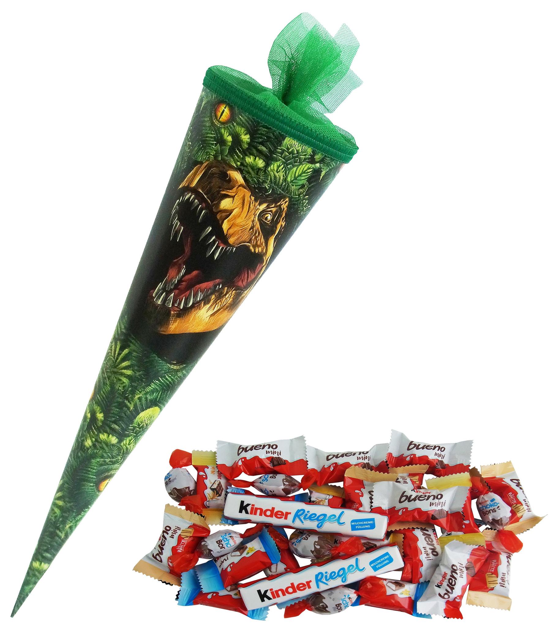 Schultüte Dinosaurier Design 35cm gefüllt mit Ferrero Kinder Spezialitäten, Schulanfang Geschenk mit 204g