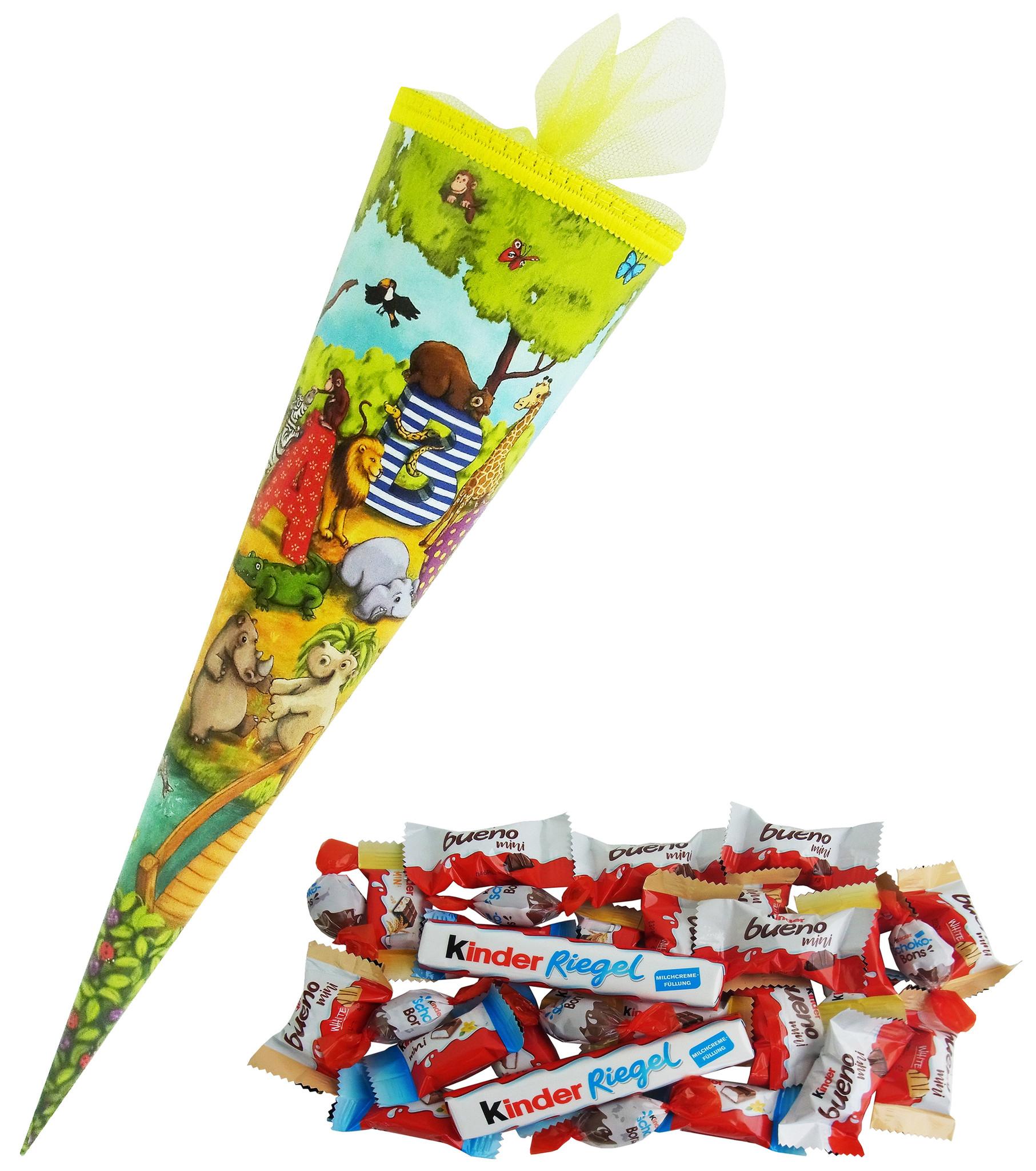 Schultüte Fabelhafte Tierwelt Design 35cm gefüllt mit Ferrero Kinder Spezialitäten, Schulanfang Geschenk mit 204g