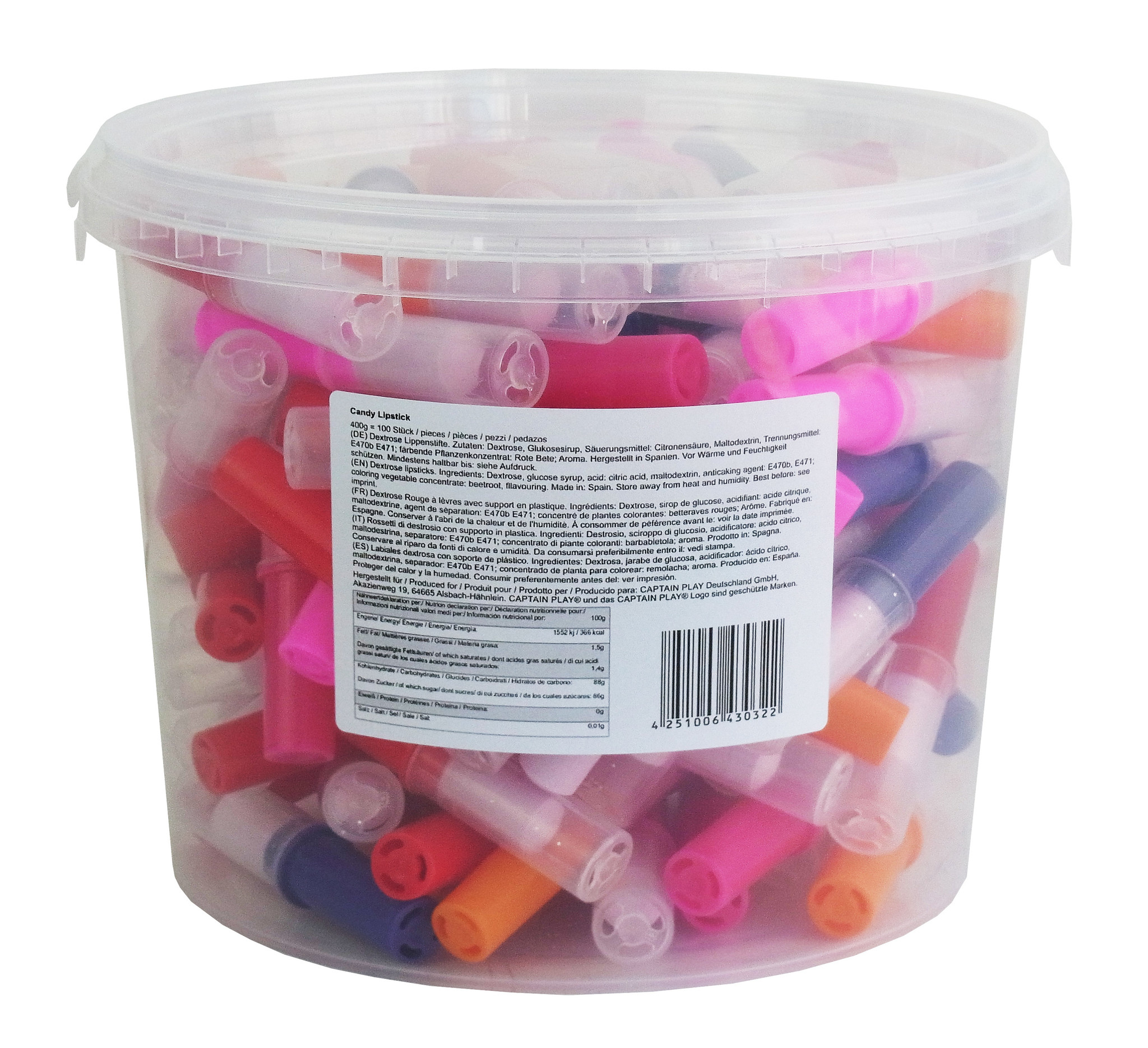 CAPTAIN PLAY Candy Lipstick, 100 Süßwaren Lippenstift einzeln verpackt im Party Bucket