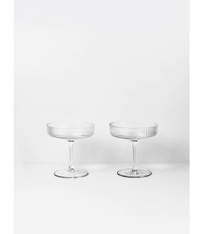 Ferm Living Ripple Champagne glazen - Clear