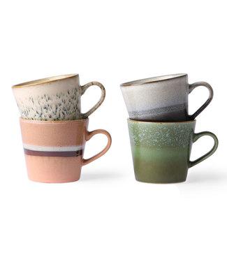 HK Living  70's cappuccino mugs - set van 4