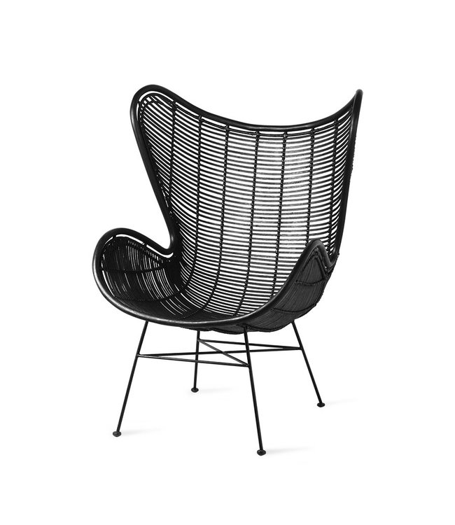 HK Living  Egg chair - Ratan zwart