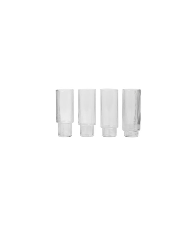 Ferm Living Ripple Long Drink Glasses - Set van 4