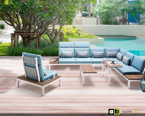 Apple Bee   Pebble Beach Blauw   Loungestoel Hoge rugleuning