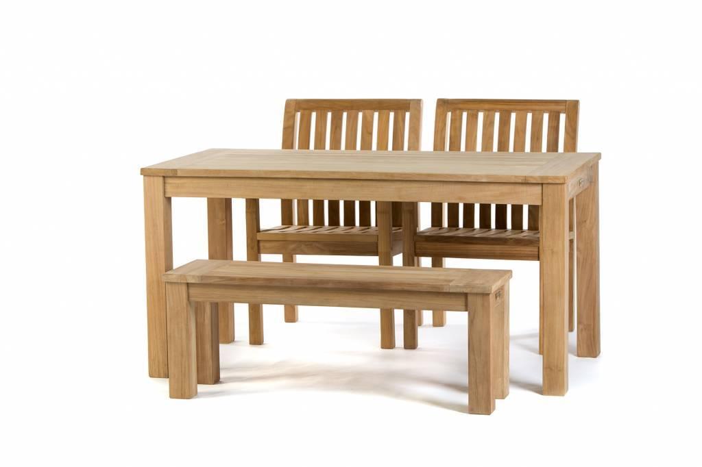 Teak tuinset James Tafel (160cm) | Comfort dining stoel | James tuinbank 120