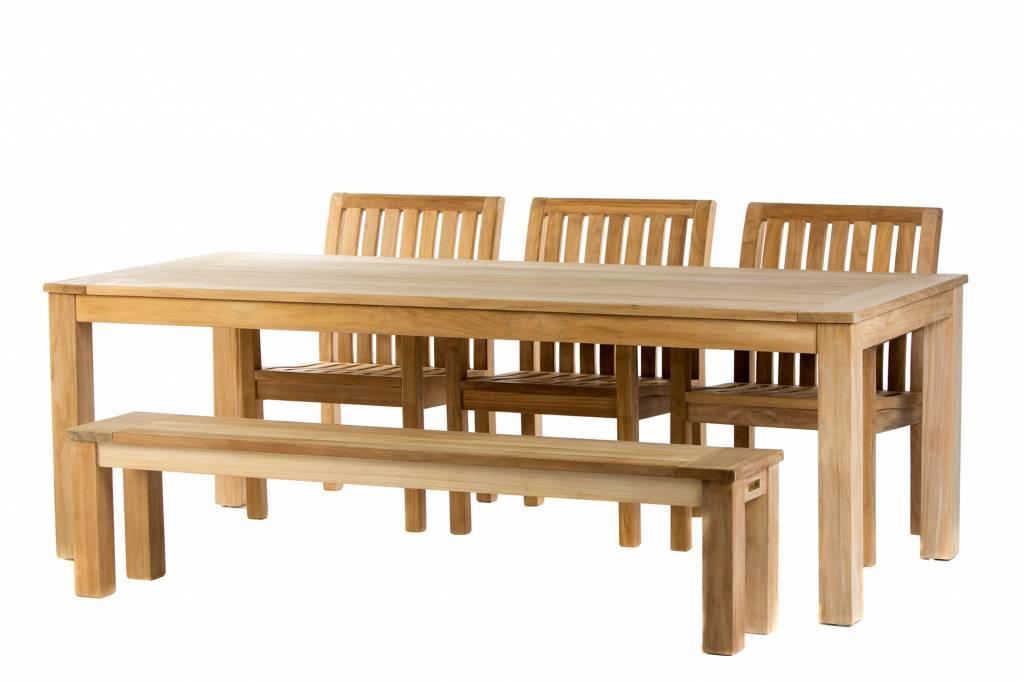 Teak tuinset James Tafel (240) | Comfort stoel | James bank 190