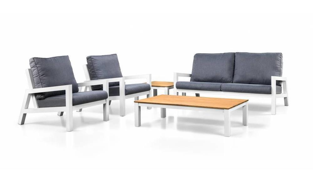 Lago loungestoelen met bijzettafel | Mat wit