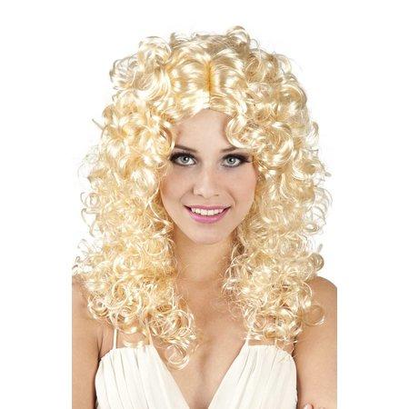 Pruik blond krul Norah