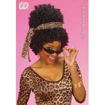 Pruik Afro Diso ster zwart