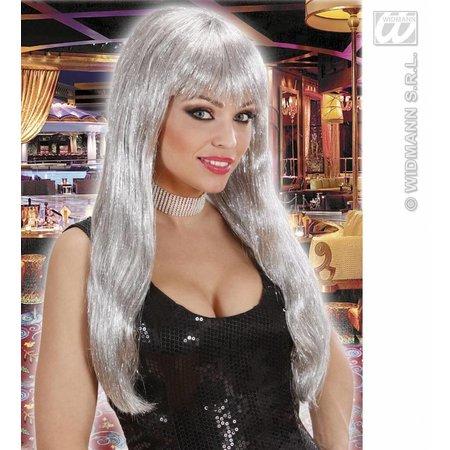 Glamour pruik glitzy zilver