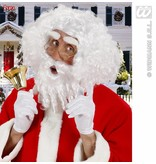 Kerstpruik krul met baard, snor en wenkbrauwen