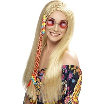 Hippy Party pruik blond met gekleurde kralen
