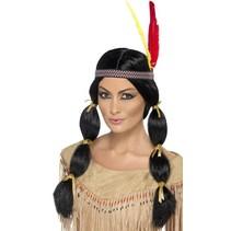 Indiaanse pruik met vlechten en hoofdband