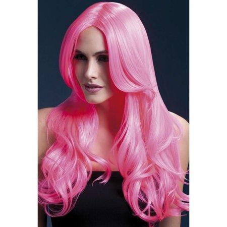 Professionele pruik lang neon roze Khloe