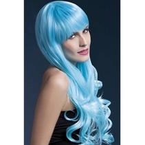 Professionele pruik lang blauw Emily