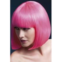 Professionele pruik kort neon pink