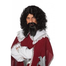 Musketiers pruik met baard en snor