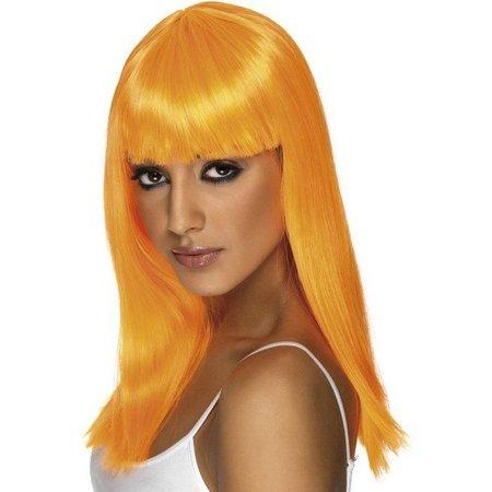Glamourama pruik neon oranje