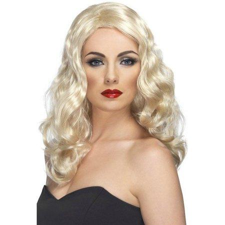 Glamour pruik lang blond