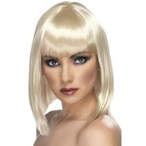 Pruik Glam kort blond