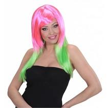 Pruik Disco roze/groen
