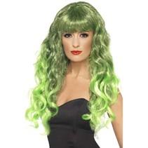 Groene Lange Siren Pruik