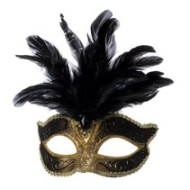 Venetiaanse masker grote veer zwart
