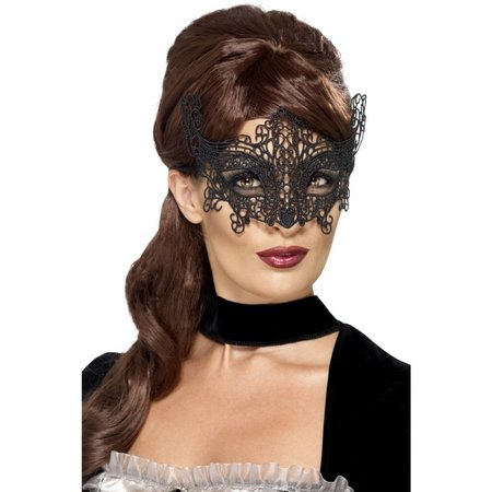 Elegante geborduurde oogmasker met kant zwart