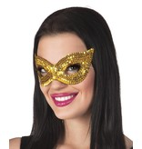 Oogmasker pailletten goud kat