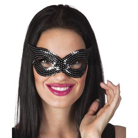 Oogmasker pailletten zwart kat