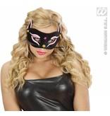 Oogmasker zwarte kat met roze glitter