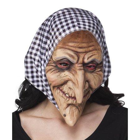 gezichtsmasker Heks met kap zwart/wit
