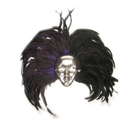 Masker zilver met hoofdtooi veren zwart/paars