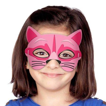 Kindermasker roze kat