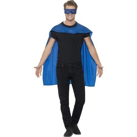 Helden cape met masker blauw