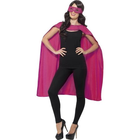 Helden cape met masker pink