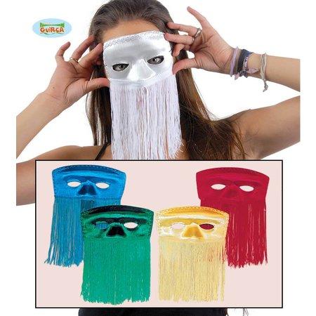 Gekleurde Domino maskers met franjes
