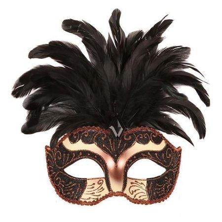 Oogmasker met veren zwart
